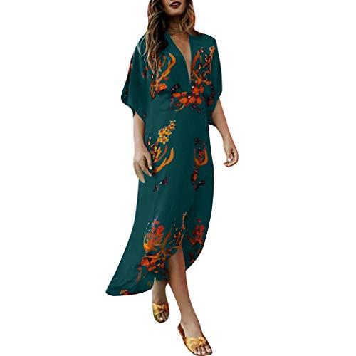 routinfly Damen Freizeitkleid Cocktailkleid,2019 neu Kleider Abendkleid Shirtkleid Sexy mit V-Ausschnitt bedrucktes Kleid mit ausgestelltem Ärmel und unregelmäßigem Saum Langarm Kleid S-3XL