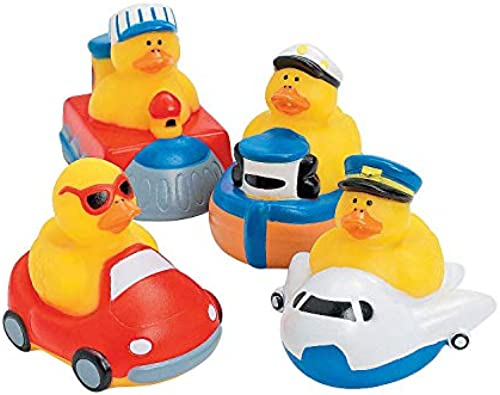 One Dozen (12 pc) Transportation Rubber Ducks by Oriental Trading Company