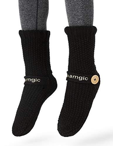 MaaMgic 1 Paar Kuschelsocken mit ABS Sohle, 20+ Stils Hüttensocken   Warme Damen Socken   Wintersocken mit Anti Rutsch Noppen, dicke Haussocken MEHRWEG Logo Schwarz