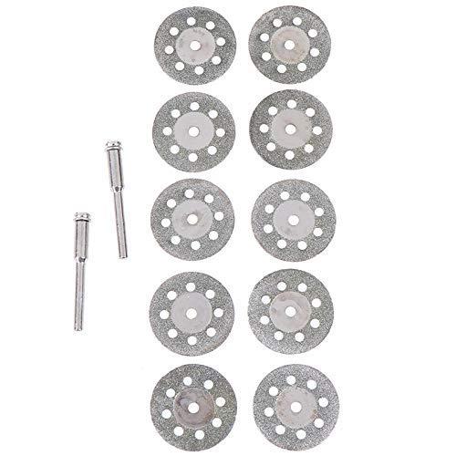 KTZAJO Juego de 10 discos de corte fiables de 25 mm con vástago de conexión de 2 x para herramienta giratoria Dremel