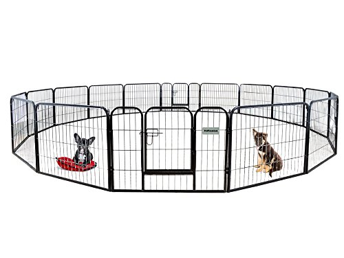 """PetPremium Dog Pen Metal Fence Gate Portable Outdoor RV Play Yard   Heavy Duty Outside Pet Large Playpen Exercise   Indoor Puppy Kennel Cage Crate Enclosures   24"""" Height 16 Panel"""