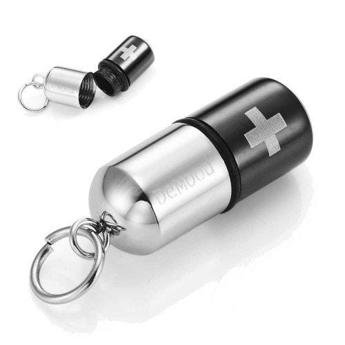 Colgante pastillero, con diseño de cruz, acero inoxidable, cadena de 54 cm, color negro y plata, en estuche de regalo
