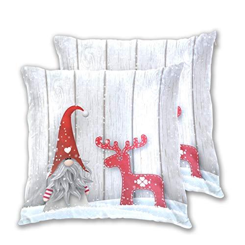 Emoya Juego de 2 fundas de cojín decorativas de madera, diseño de gnomo, copos de nieve, cuadrada, para sofá, coche, para decoración de la cama del hogar, 40 cm x 40 cm