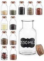 12 barattoli portaspezie in vetro con coperchio in sughero - 150ml - vasetti per spezie con etichette - ermetici