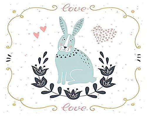 Y·JIANG Pintura por números, lindo conejo 'Love' texto divertido de dibujos animados animales DIY lienzo acrílico óleo pintura por números para adultos niños decoración de pared del hogar, 50 x 50 cm
