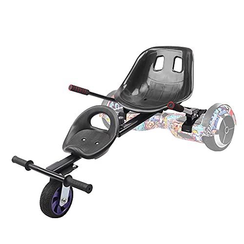 """TGHY Hoverkart Kart de Hoverboard Asiento Doble Marco Ajustable Convierte Tu Scooter Autoequilibrante en Un Kart Se Adapta a Aerotabla de 6.5"""" 8"""" y 10"""" Hace Queconducción Sea Más Divertida,Negro,PU"""