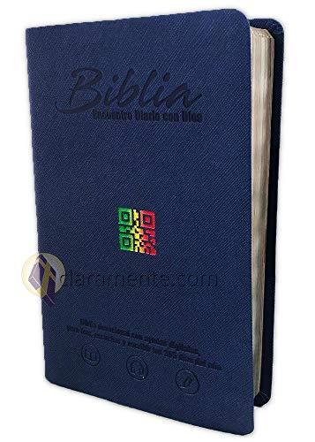 Diario Bíblico Impreso y Digital, Encuentro con Dios con QR, Reina-Valera Contemporánea, imitacion piel azul