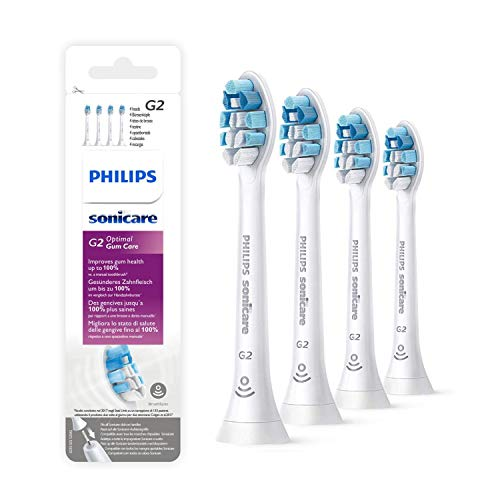 HX9034 Optimal Gum Care Replacement Toothbrush Heads G2 - Standard Sonic Brush Heads Compatible with Phillips Sonicare DiamondClean, White (4 PACK)