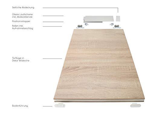 Rahmenlose Holzschiebetür in Wildeiche | Maße des Türblattes: 900 x 2035 mm | Inkl. Beschläge und einer oberen Laufschiene in 2 Metern | Geeignet als Zimmertürersatz - 4