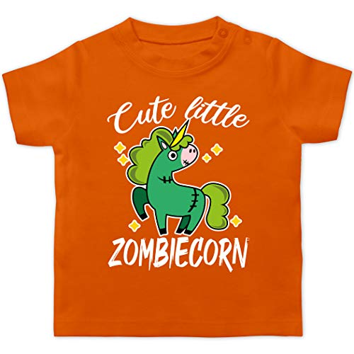 Halloween Baby - Cute Little Zombiecorn - weiß - 1/3 Monate - Orange - Einhorn - BZ02 - Baby T-Shirt Kurzarm
