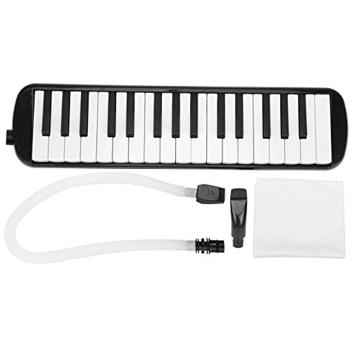 32 Tasten Melodica Instrument, Tastatur mit 2 weichen langen Röhren und kurzen Mundstücken Akkordeon Instrument Musikalische Keyboards für erwachsene Kinderanfänger Kunststoffinstrumente (schwarz)