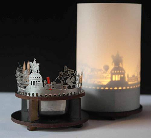 13gramm Koblenz-Skyline Windlicht Schattenspiel Premium Geschenk-Box Souvenir, inkl. Kerzenhalter, Kerze, Projektionsschirm und Teelicht