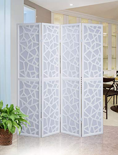 Roundhill Furniture Giyano 4 Panel Wood Frame Screen Room Divider, White