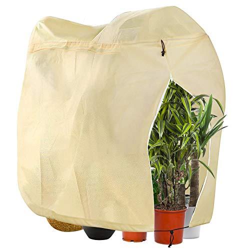 DIAOPROTECT Winterschutz für Pflanzen, Winterschutz für Kübelpflanzen,Frostschutz Pflanzen Winter mit Reißverschluss und Kordelzug,Kübelpflanzensack aus Vlies,Pflanzenabdeckung,120x180 cm, Beige