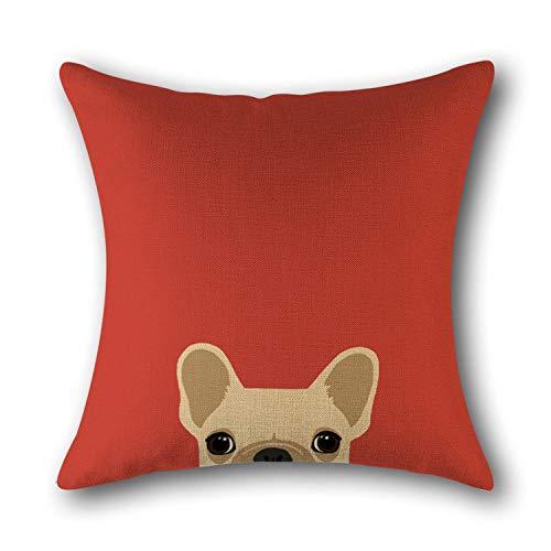 Fundas Para Cojines,Dibujos Animados Naranja Rojo Lino Bulldog Animal Lindo Divertido Suave Comfye Doble Cara Impresión Funda De Cojín Cuadrado 18 X 18 Pulgadas Para Sofá Coches Sala De Estar Dor