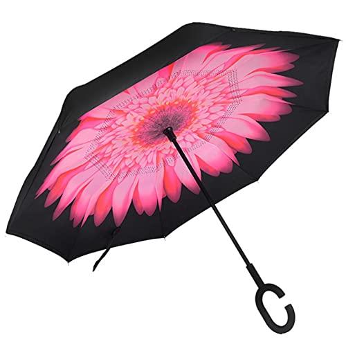 UKKD Paraguas Plegables Paraguas Inverso Lluvia Mujeres Doble Capa Parasol Auft Traves Rain Coche Invertido Paraguas