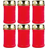 HS Candle - Candele per Tomba con Coperchio Dorato, 48 Ore, 6 pz, Colore: Rosso/Bianco