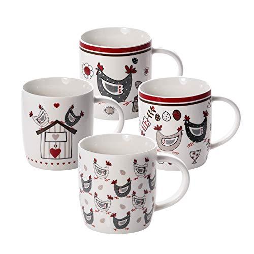 Lot de 4 Tasses à Café en Porcelaine 365 ml avec Poule Animaux de la Ferme