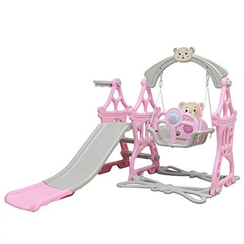 JW-YZWJ Diapositiva per Bambini Indoor, Swing Set da Basket Cestino Slide Swing e Musica Macchina Piccoli Giocattoli per Bambini per Il Cortile Interno,Rosa
