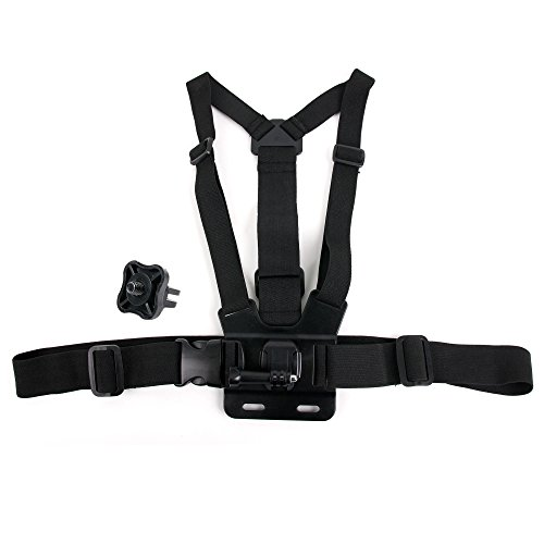 DURAGADGET Black, Fully Adjustable Chest Strap Mount with Screw Adaptor Compatible with The OLFI 4K HDR Action Camera
