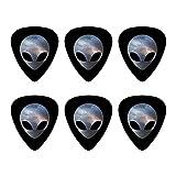 Alien Head in Space Novelty Guitar Picks Medium Gauge - Set of 6