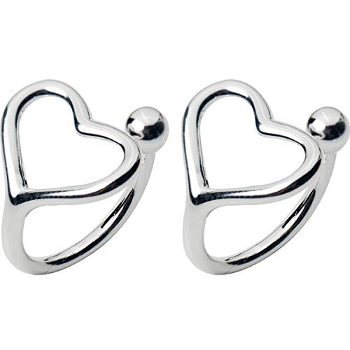 Minimalist Love Bead Cuff Open Hoop Clip on Earrings for Women Teen Girls Kids 925 Sterling Silver 18K White Gold Plated Small Heart Cute Cartilage Climber for Non Piercing Upper Ear Huggie Gifts