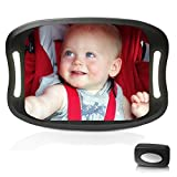 Parnerme Baby Car Mirror with Remote Control Soft Led Night Light View Rear Facing Infant in Backseat,Safety Shatter-Proof Frame,Secure Double-Strap,360 Degree Rotation Easily to Observe The Baby