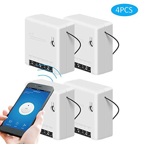 SONOFF Mini Smart Switch Interruptor de Control Remoto DIY para Electrodomésticos Funciona con Alexa Google Home (4 PCS)