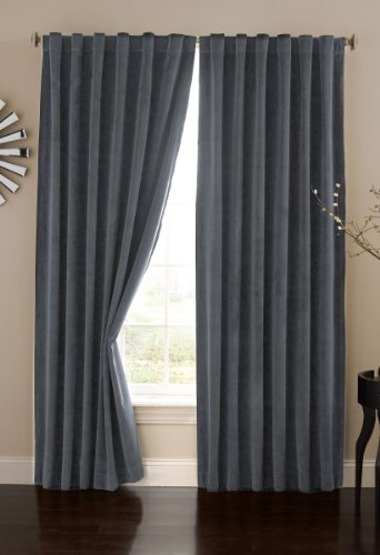 ECLIPSE Bradley Thermal Insulated Single Panel Rod Pocket Darkening Curtains for Living Room, 50' x...