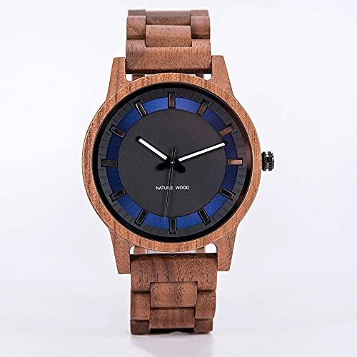 yuyan Reloj de Madera Moda para Hombre y Simplicidad Nogal Hecho a Mano Movimiento japonés Azul Dial Mirada Mira Elegante Luxury Salud Natural Vacaciones