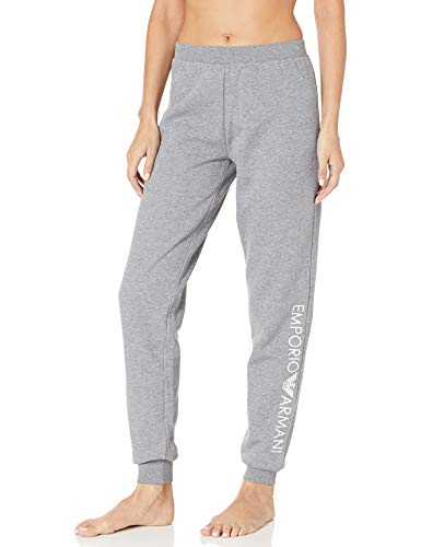 Emporio Armani Damen Stretch Cotton Pants with Cuffs Pyjamahose, Dunkelgrau Melange, Mittel
