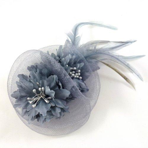 rougecaramel - Accessoires cheveux - Broche fleur/pince cheveux mariage 11cm - gris