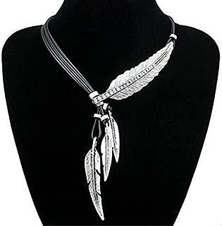Fashion Vintage Indian Big Leaf Feather Charms Lariat Leather Costume Aztec Bib Necklace