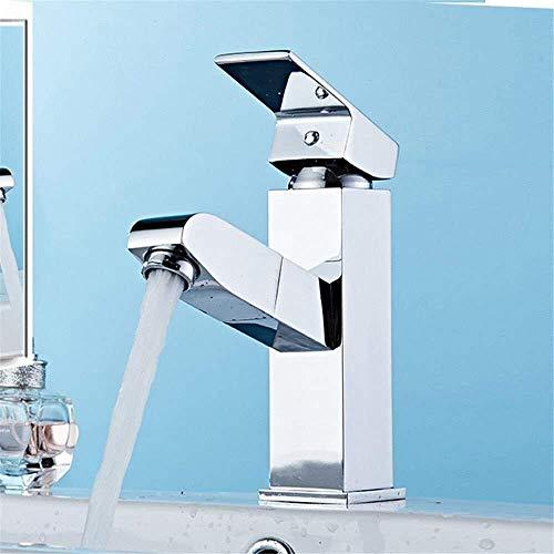 XUSHEN-HU Grifo mezclador de lavabo para lavabo de cocina extraíble agua caliente y fría latón extensible baño grifo lavabo baño