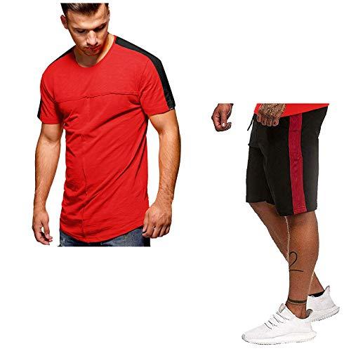 YANFANG Conjunto De CháNdal Running, Fitness,Traje Deportivo Verano para Hombre con Mangas Cortas Y Cuello Redondo A Rayas,Rojo,L