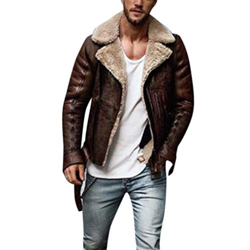 Ushpoy Men Coats Winter Plush Lined Notched Lapel PU Leather Jacket Slim Fit Zip Off Cardigan with Zip Pockets,Brown,Large