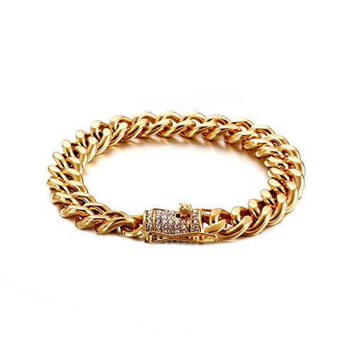 YZJYB Cadenas De Plata/Dorado/Negro Hombre 316L Acero Inoxidable Pulseras con Diamantes De Imitación Transparentes Curb Chain Cubana,Oro