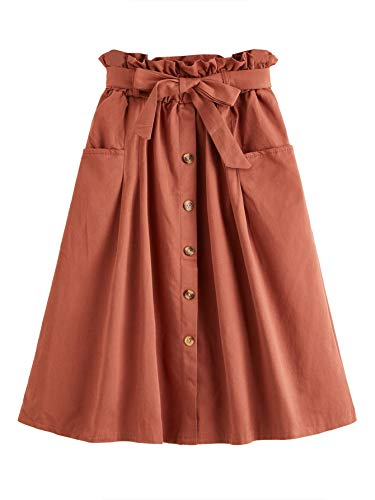 Material:100% Polyester,soft,breathable and comfortable Elastic paper bag waist botton decorative A line midi skirt with belt,knee length,comfy for you well fitting Two large pockets are both decorative and easy to store items Classic solid skirt,sui...