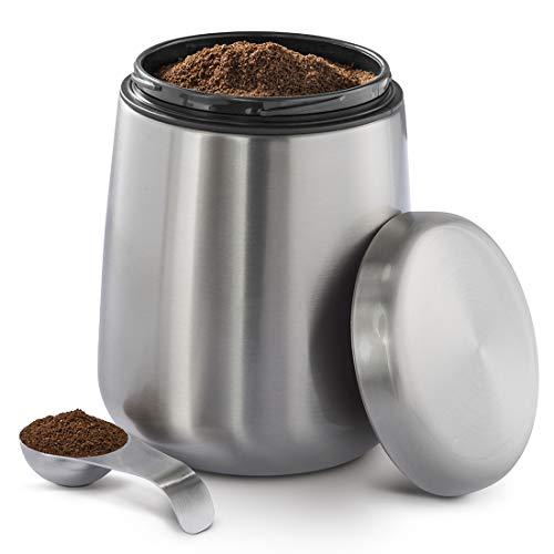 Kaffeedose Edelstahl 500g (luftdichte Edelstahldose inkl. magnetischem Dosierlöffel im Deckel, Anti Finger Print Kaffeebehälter, Kaffeebox zur Aufbewahrung von 500g Kaffeepulver/-bohnen) silber