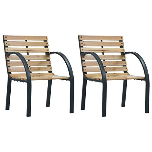 vidaXL 2X Sillas de Jardín Asientos de Exterior Patio Terraza Sillon de Porche Muebles Sentarse Afuera Aire Libre Madera