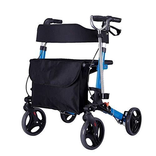 SONGYU Andador con Ruedas Plegable Carrito de la Compra Andador Andador de Aluminio con Cuatro Ruedas Asiento Auxiliar para Caminar con Respaldo Cesta de la Compra Altura Ajustable ✅