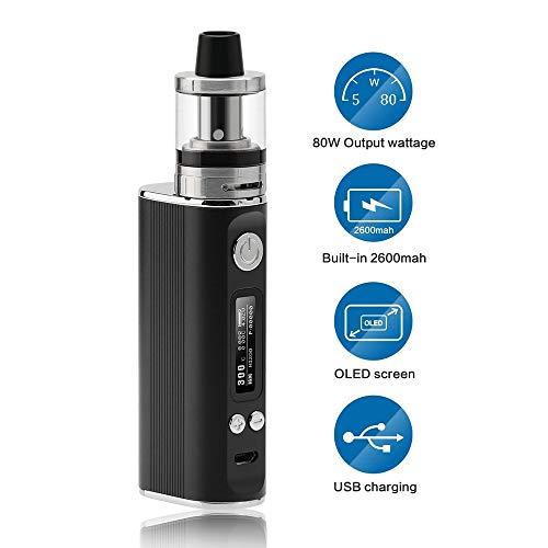JOMO TECH Sigaretta Elettronica, Sigaretta elettronica Svapo kit Lite 80w Potenza regolabile in 5,0-80W Controllo della temperatura Top Fill Atomizzatore 2.0ml No nicotina, No E liquido