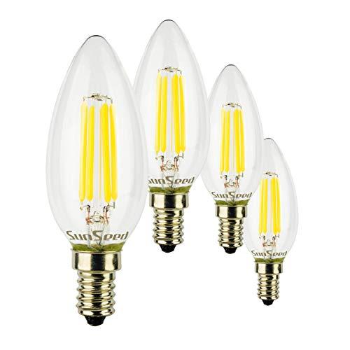 SunSeed® 4x Glühfaden LED Kerze Lampe E14 5W ersetzt 50W Neutralweiß 4000K