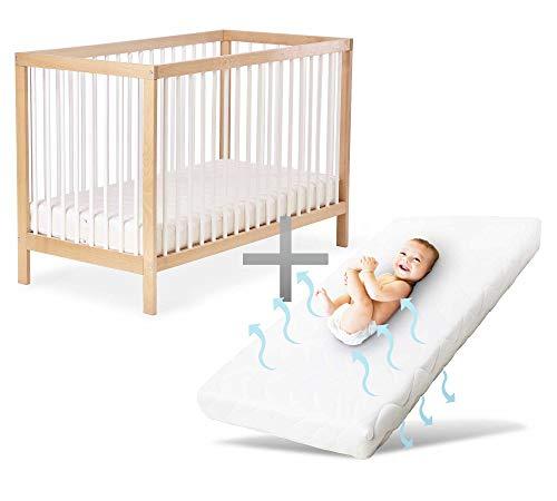 Ehrenkind® Babybett PUR inkl. Matratze 120x60 aus Natur Buchenholz | Kinderbett dreifach höhenverstellbar mit entnehmbaren Stangen