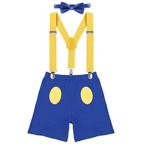 Disfraz de pato Donald para recin nacido, para nios de 1, 2 o 3 cumpleaos, con tirantes ajustables y espalda en Y y pajarita, 3 piezas Azul 4 2-3 Aos