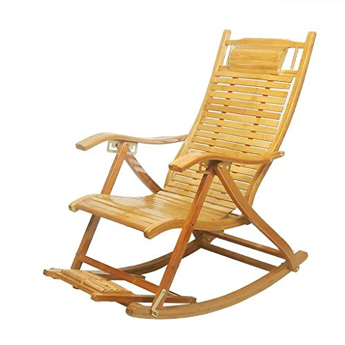 Reclining Schaukelstuhl Bambus Loungesessel, Lazy Balkon Erwachsener Nickerchen Ruhesessel Alter Mann Freizeitfalte Mittagspause Stuhl Sonnenliege (Color : A)