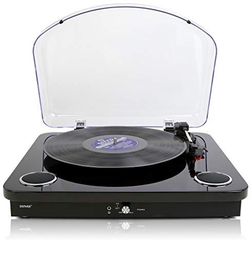 Denver VPL-200 Plattenspieler – Eingebaute Stereo-Lautsprecher – USB-Aufnahme Konvertieren von Vinyl zu MP3 – Schwarz glänzend