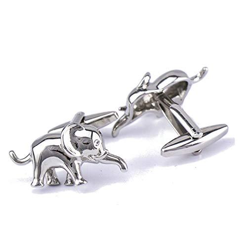 AMDXD Bijoux Chemise pour homme Boutons de manchette Français Boutons de manchette Mariage éléphant Forme Argenté Longueur 2.5 cm