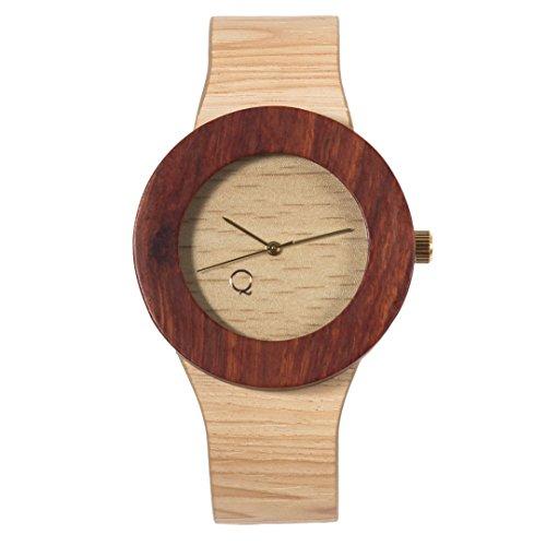 seQoya - Colorado   Reloj de Madera con Esfera de Madera y Correa de Piel ecológica simulando Madera Estampada   Reloj Hombre y Mujer   Diseño único y Original