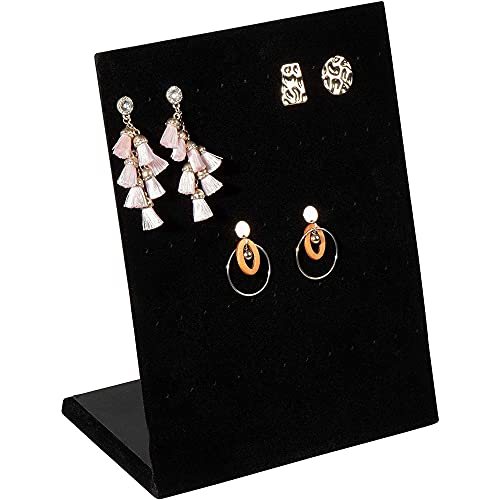 Earring Holder - Velvet L-Shape Earring Display Stand, Organizer, Rack, Board, for Jewelry Studs Accessories Storage, Show, Retail, Shop, Home, Counter Top, 60 Holes, Black, 9.9 x 7.9 x 4 Inches